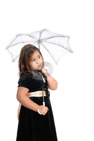 Shy Girl Under Umbrella stock photo, A cute shy little girl is wearing a dress and holding an umbrella, isolated against a white background by Richard Nelson