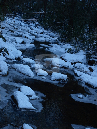 Icy water stock photo, View along the Jacobs Fork River at South Mountain State Park after a snow fall by Tim Markley