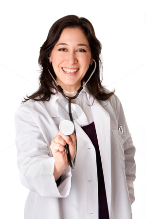 Happy doctor with Stethoscope stock photo, Beautiful attractive happy smiling female doctor physician nurse with stethoscope, isolated. by Paul Hakimata