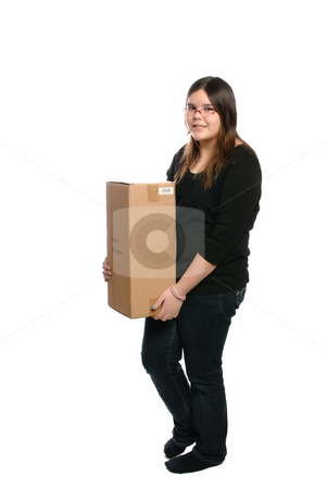 Teenage Girl Holding Parcel stock photo, A full body view of a teenage girl holding a plain brown parcel, isolated against a white background. by Richard Nelson