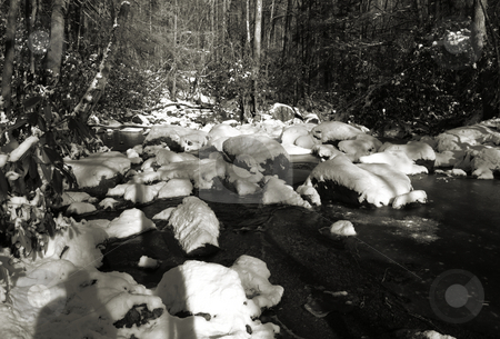 Cold water stock photo, A cold river view shown in black and white by Tim Markley