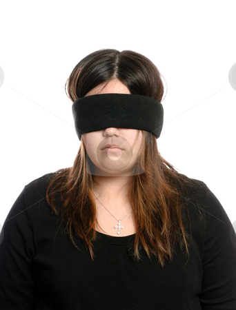 Blindfolded Teenager stock photo, Closeup view of a blindfolded teenager who is wearing a cross necklace.  Could be used for Blind Faith.  Isolated against a white background. by Richard Nelson