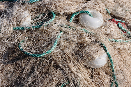 Group of white fishnet with balls stock photo, Group of  white fishnet with balls by Roberto Giobbi