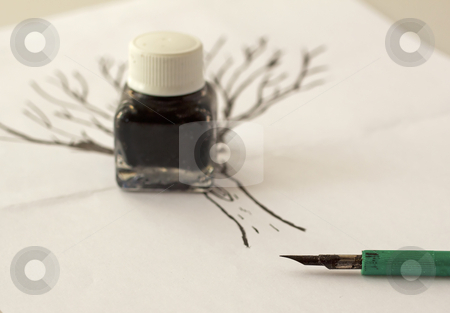 India ink stock photo, Pen for indian ink with little bottle over a drawing by Fabio Alcini