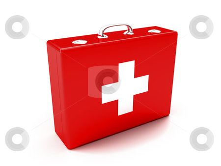 First aid kit stock photo, First aid kit. Red suitcase isolated on white background. by Mile Atanasov