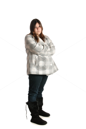 Mad Teenage Girl stock photo, A full body view of a mad teenage girl, isolated against a white background by Richard Nelson
