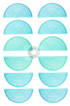 Background protractors stock photo, Many protractors arranged in regular pattern over white. by Samantha Craddock