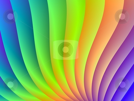 Color Wave stock photo, Digital abstract design depicting a wave of colors blue, purple, green, yellow and orange. by Colin Forrest