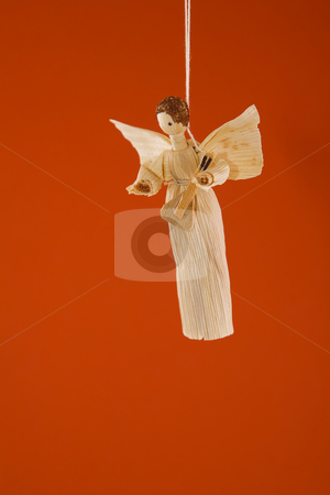 Straw christmas angel stock photo, Front view of straw Christmas angel, vintage decorations by caimacanul