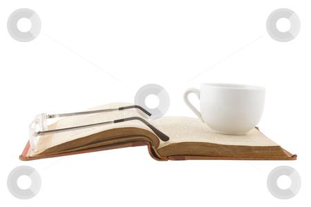 Study Break with coffee cup  stock photo, Study Break with coffee cup on white background by caimacanul