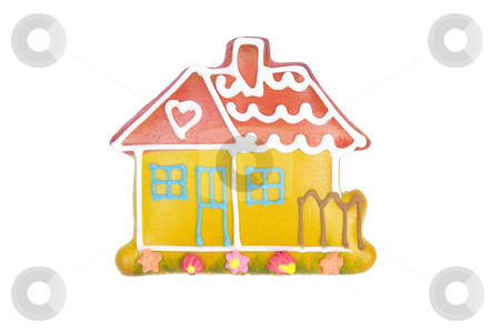 Christmas house made from gingerbread stock photo, Christmas house made from gingerbread,  x-mas cookies by caimacanul