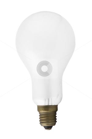 Single light bulb isolated stock photo, Single light bulb isolated on a white background by caimacanul