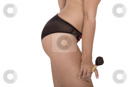 Sexy young woman in black panties stock photo, Picture of a girl's buttocks. Beautiful female body isolated on white. Sexy young woman in black panties by caimacanul