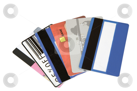 Differnt credit cards stock photo, Different credit cards found in a wallet by caimacanul