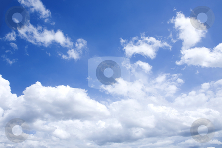Bright blue sky with white clouds on sunny day stock photo, Horizontal shot of bright blue sky with white clouds on sunny day by caimacanul