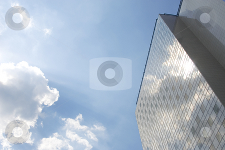 Office building stock photo, Perspectiv view of office building with blue sky reflection by caimacanul