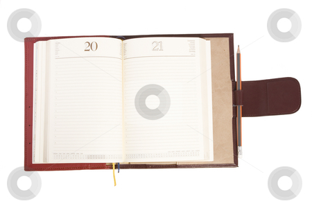 Open notebook stock photo, Front view of open notebook on white background by caimacanul