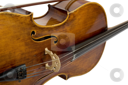 Vintage violin stock photo, Close-up of vintage violin on white background by caimacanul
