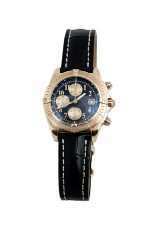 Luxury watch, black leather and gold stock photo, Front view of luxury watch, black leather and gold by caimacanul