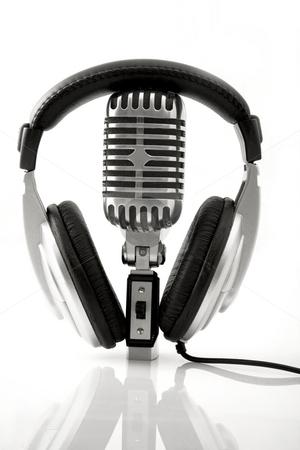 Retro Microphone & DJ Headphones  stock photo, Professional Retro Microphone & DJ Headphones by caimacanul