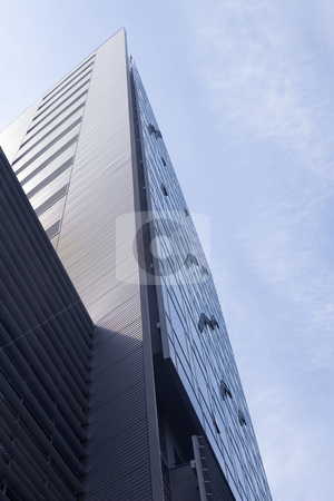 Corporate buildings stock photo, Corporate buildings in perspective on sky background by caimacanul