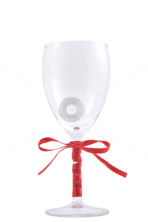 Glass of wine stock photo, Glass of wine and red ribbon over white background by caimacanul