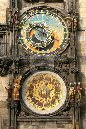 Prague Clock stock photo, A detail of the astronomical clock in Prague, Czech republic in the Old Town Square by caimacanul