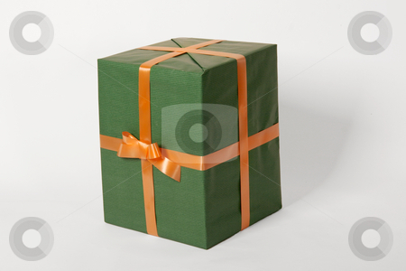 Green present stock photo, Green present and orange ribbon by caimacanul