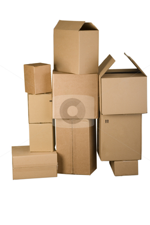 Brown different cardboard boxes arranged in stack stock photo, Brown different cardboard boxes arranged in stack on white background by caimacanul