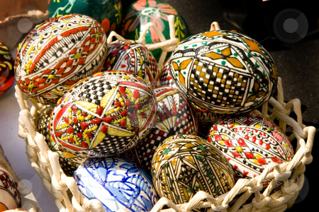 EASTER EGGS stock photo, Painted eggs decorated by various techniques before Easter. by caimacanul