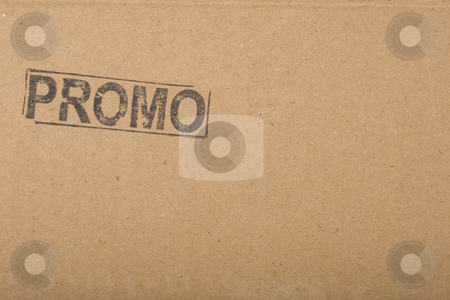 Promotion message copy-space on cardboard texture stock photo, Promo message, copy-space on brown cardboard texture by caimacanul
