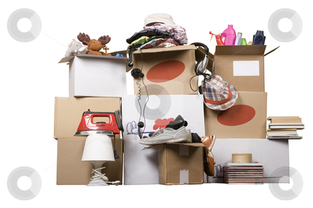 Transport cardboard boxes, relocation concept stock photo, Transport cardboard boxes with books and clothes, relocation concept by caimacanul