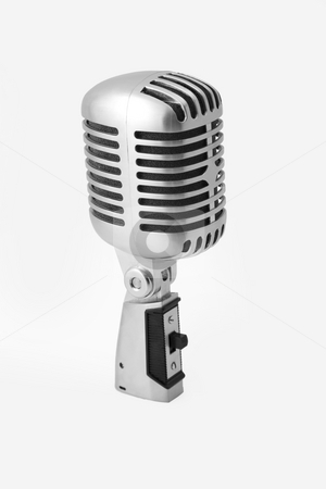 Vintage microphone stock photo, Vintage Microphone Isolated Over White Background by caimacanul