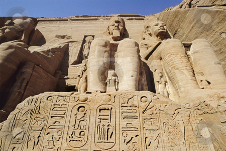 Abu Simbel statues stock photo, Abu Simbel Temple of King Ramses II, located in Eygpt by Christian Delbert