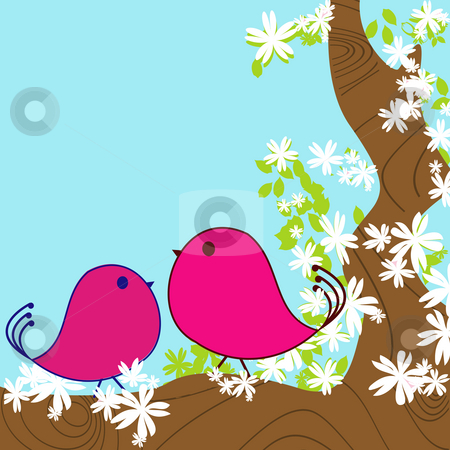 Spring background card stock photo, Two doodle birds in a blossom tree, spring background card by Richard Laschon
