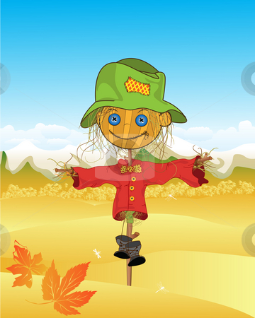 Scarecrow background stock photo, Autumn sketch with stylized scarecrow by Richard Laschon