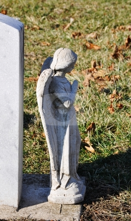 Gravesite - Angel - Looking Away stock photo, Gravesite - Angel - Looking Away by Liane Harrold