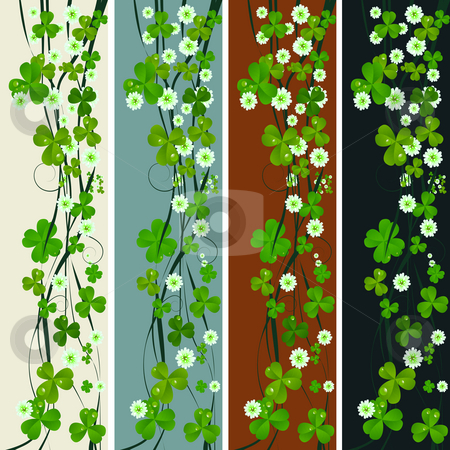 Vertical headers with St. Patrick stock photo, Vertical headers with clover leaves and flowers, St. Patrick's Day design by Richard Laschon