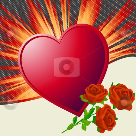 Valentine's Day illustration stock photo, Valentine's Day illustration with heart shape and roses by Richard Laschon