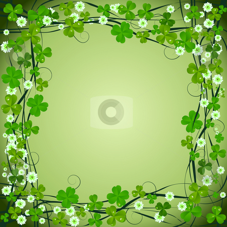 Clover frame background stock photo, Clover frame background for St. Patrick Day by Richard Laschon