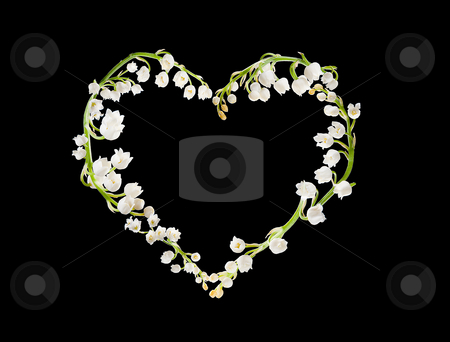 Heart of lillies stock photo, Heart shape made of lilly-of-the-valley flowers by Anneke