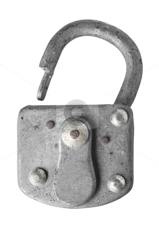 Old padlock isolated on white background.  stock photo, Close up of an old padlock isolated on white background, clipping path. by Pablo Caridad