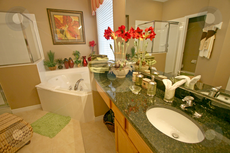 Master Bathroom stock photo, A Master Bathroom, Interior Shot of a Home by Lucy Clark