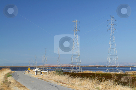 High voltage power lines stock photo, High voltage power lines near the bicycle track by Olena Pupirina