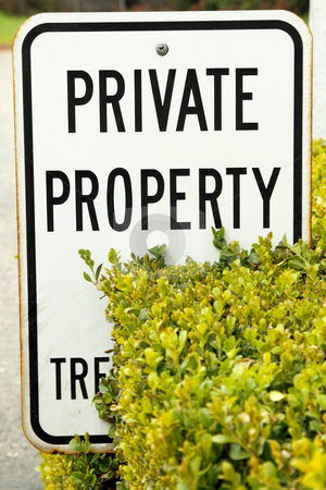 Private property sign stock photo, White private property sign with black letters by Olena Pupirina