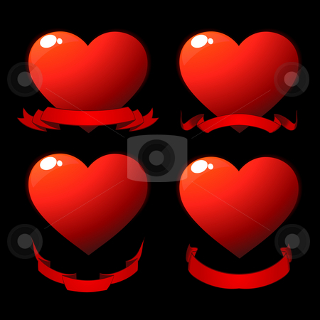 Red shiny hearts stock photo, Red shiny hearts with scrolls over black by Richard Laschon