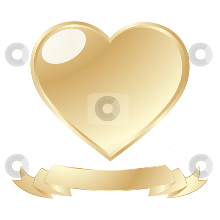 Golden shiny heart stock photo, A golden shiny heart and scroll against white background by Richard Laschon