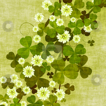 Grunge clover leaves stock photo, Grunge floral background with clover leaves and flowers by Richard Laschon