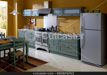 Green classic kitchen stock photo,  by Luca Mosconi
