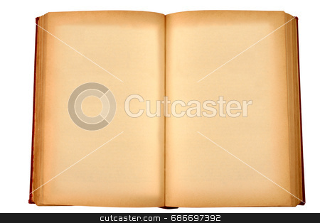 Old book stock photo, An old book with blank yellow stained pages waiting for some text. by Stephen Rees